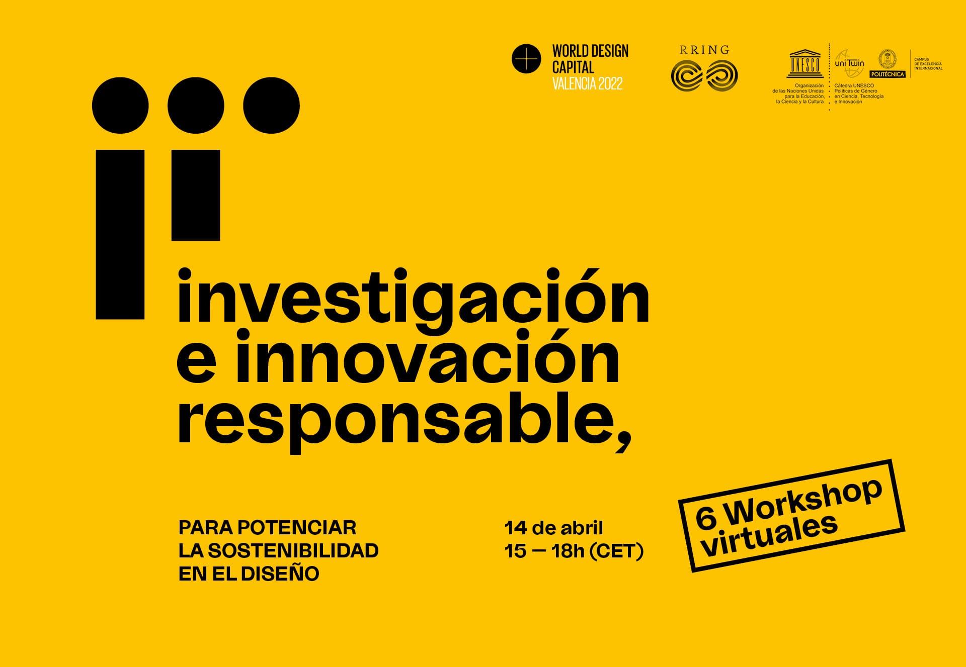 Workshops virtuales: 'Investigación e innovación responsable en el campo del diseño'